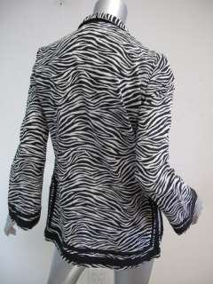 Michael Kors top Black & White Zebra Cotton L/S sz XS