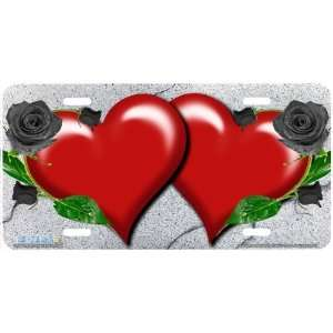 337 Black Rose Hearts on Granite Heart Airbrushed License Plates Car