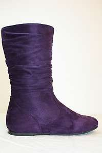 NIB Girls Kids Purple Faux Suede Comfort Boots Shoes