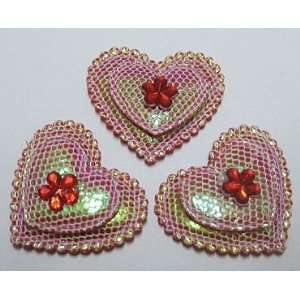 30pc Hot Pink Glitter Hearts Fabric Padded Appliques PA72