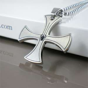 NEW Silver Metal Black Spider Iron Cross Men Stainless Steel Pendant