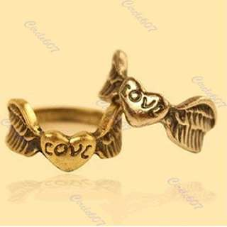 antique bronze angel wing carved Love Heart Band little finger Ring