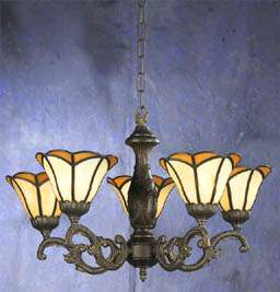 Tiffany 5 Glass Antique Bronze Color Chandelier #23025