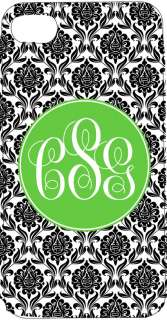 Personalized IPHONE 4g 4s case Monogram Name BLACK DAMASK lime green