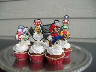 Super Mario Bros Brothers Cupcake Cake Toppers Birthday Party decor