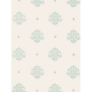 Schumacher Sch 5005352 Mayla Damask   Water Blue Wallpaper
