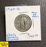 1920 D Standing Liberty QUARTER DOLLAR Silver 25c Coin Twenty Five