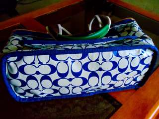 Coach Hand bag Medium Tote Hobo Reversible Carryall Blue Possible