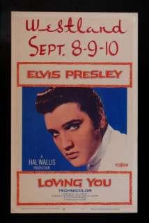 LOVING YOU *ORIG WINDOW CARD MOVIE POSTER ELVIS PRESLEY