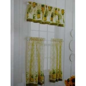 Nautica Tropical Pineapple Kitchen Tier Curtain Red Cream