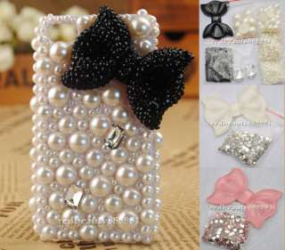 Gem White Pink Black Bow DIY cell Phone iPhone 3G 4 4S Case   Deco Den