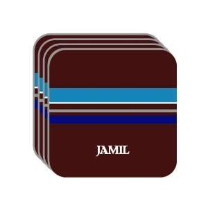 Personal Name Gift   JAMIL Set of 4 Mini Mousepad Coasters (blue