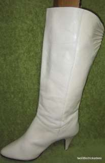 9West Nine West Melissa Off White Leather Tall Fashion Boots Women 7 M