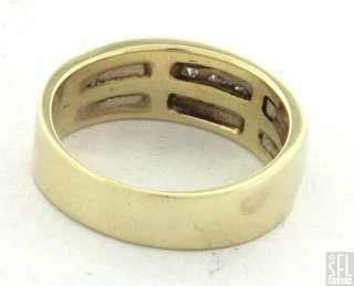 14K 2 TONE GOLD FANCY .60CT DIAMOND MENS BAND RING SIZE 10.5