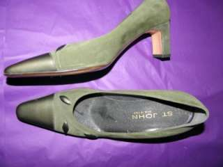 ST. JOHN Olive Green Suede Leather Pumps Made in Italy Ladies Size 8
