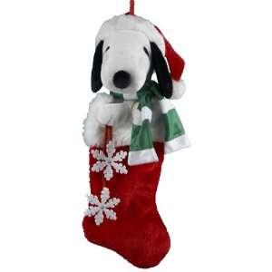 Kurt Adler 21 Inch Snoopy Plush Head Stocking with Snowflake Dangles