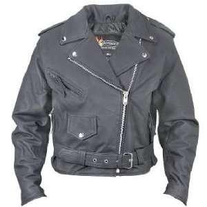 Matte Black Belted Leather Motorcycle Jacket Sz 2XL