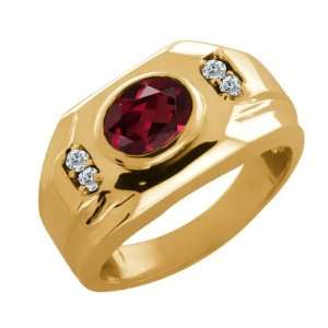 1.48 Ct Oval Red Rhodolite Garnet and White Diamond 14k