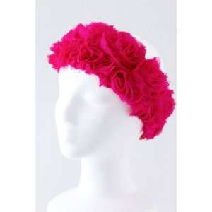 Fashion Hair Accessory ~ Hot Pink Rose Rosette Headwrap