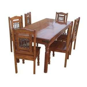 Wood Kitchen Dining Table Chairs Room Set Furniture