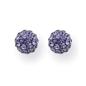 14k Gold 5mm Purple Round Crystal Post Ball Earrings Jewelry