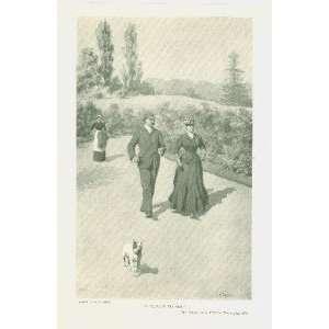 1893 A B Frost Print Man Woman Dog Walking Garden