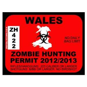 Wales Zombie Hunting Permit 2012 (Bumper Sticker