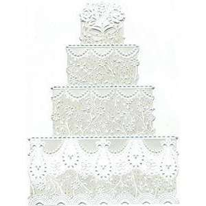 Wedding Greeting Card   White Wedding Cake With Glitter Carol Wilson