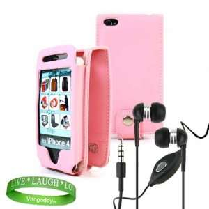 iPhone 4 leather Case Accessories Kit PINK Melrose Leather Flip Case
