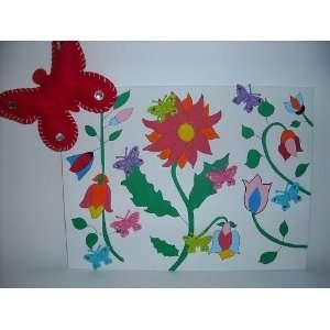 3D Butterfly in Flower Garden Canvas Painting Kit  Kitchen