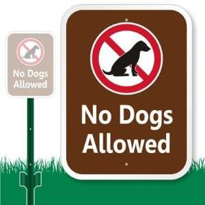 No Dogs Allowed (with Dog Graphic) Aluminum Sign with