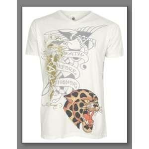 Ed Hardy Mens V Neck Multiprint T Shirt Death Before