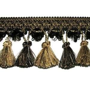 3.5 Tassel Fringe Trim Black/Taupe/Gold By The Yard