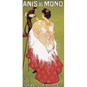 MONKEY ANIS DEL MONO GRAND PRIX PARIS 1900 VINTAGE POSTER