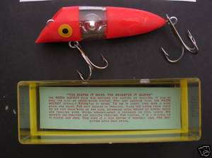 VINTAGE NEON MICKEY GLOW NEON LIGHT FISH LURE & PAPERS
