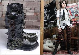Visual Kei Punk Zipper Hyde Calf Military boots blk 38