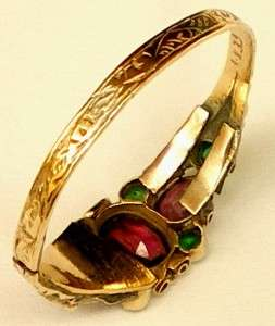 Pretty engraved Victorian gold ring with pink & green stones size S/9