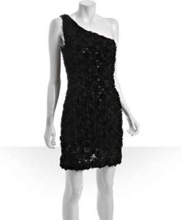 Allen Schwartz Prive black chiffon sequin rosette one shoulder dress