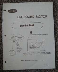 1958 6 HP West Bend Outboard Motor Parts Manual Catalog Model 6801 Gr8