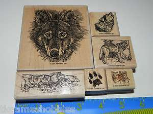 Stampin Up WOLF Retired Rubber Stamp Set 6 Wolves Paw Print