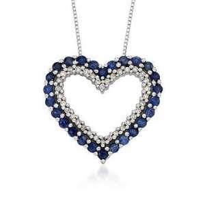 Sapphire, .10ct t.w. Diamond Open Heart Pendant Necklace. 18 Jewelry