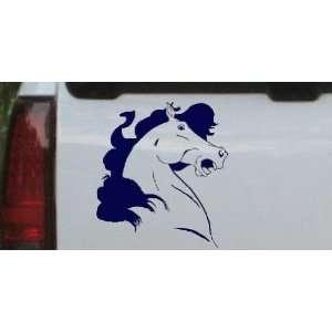 Horse Head Western Car Window Wall Laptop Decal Sticker    Navy 14in X