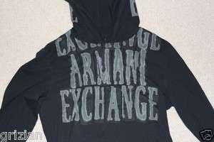 Armani Exchange Small Gold Silver Black Foil Hoodie Hoody Hooded Light