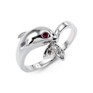 Womens 14k Solid White Gold Dolphin CZ Gemstone Ring