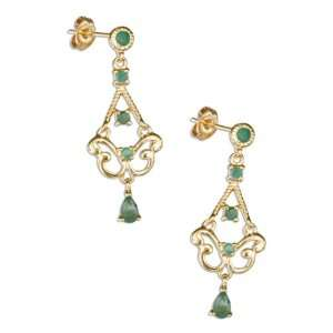 Silver 18kt Gold Plated Genuine Emerald Chandelier Earrings. Jewelry