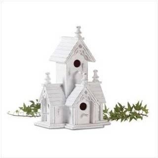 White Shabby Victorian Birdhouse Bird House Wood Chic