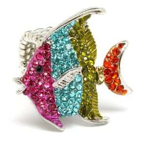 Reef Creature Coral Fish Crystals Cocktail Ring