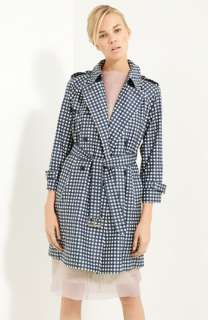 MARC JACOBS Gingham Print Coated Silk Trench Coat