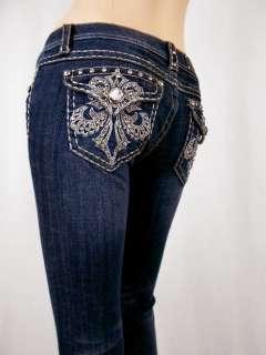 Signature rhinestone buttons Five pocket zip fly Crystal fleur de lis