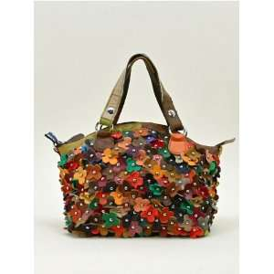 Genuine Leather Clutch/messenger Bag w/ Chic Flowers and